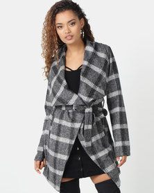 London Hub Fashion Checked Shawl Collar Self Belt Coat Grey/White