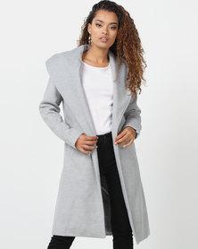 London Hub Fashion Longline Duster Coat Grey