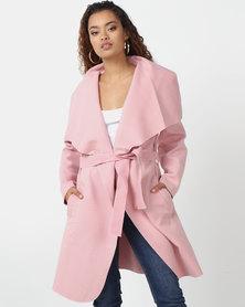 London Hub Fashion Shawl Collar Self Belt Jacket Rose