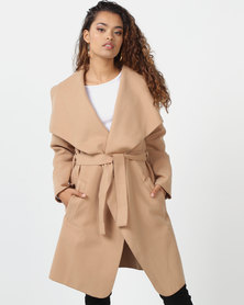 London Hub Fashion Shawl Collar Self Belt Jacket Camel