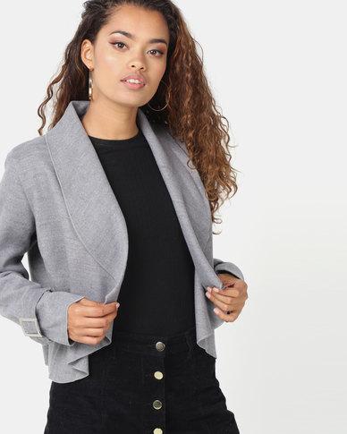 London Hub Fashion Waterfall Front Cuff Detail Jacket Grey