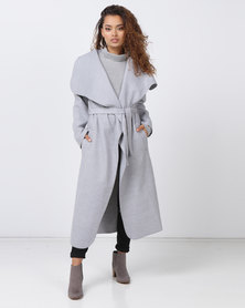 London Hub Fashion Shawl Collar Self Belt Maxi Coat Grey