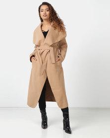 London Hub Fashion Shawl Collar Self Belt Maxi Coat Camel