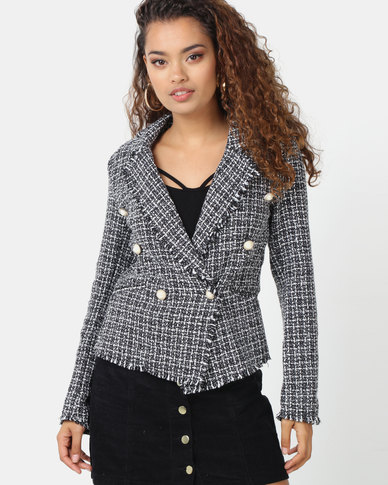 London Hub Fashion Tweed Check Dome Button Frayed Edge Blazer Black