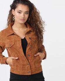 London Hub Fashion Corduroy Button Front Jacket Rust