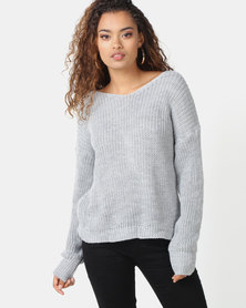 London Hub Fashion Knot Front Detail Jumper Grey