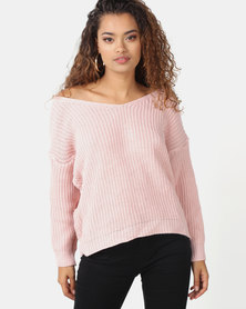 London Hub Fashion Knot Front Detail Jumper Pink