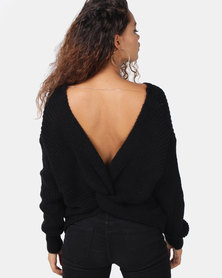 London Hub Fashion Knot Front Detail Jumper Black