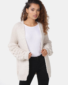 London Hub Fashion Basket Weave Mid Length Cardigan Stone
