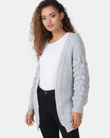 London Hub Fashion Basket Weave Mid Length Cardigan Grey