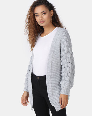 56ec008ca32 London Hub Fashion Basket Weave Mid Length Cardigan Grey