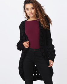 London Hub Fashion Ruffle Trim Longline Edge To Edge Cardigan Black