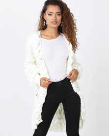 London Hub Fashion Ruffle Trim Longline Edge To Edge Cardigan Cream