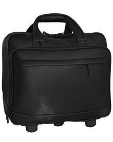 Fino 2 Wheel Pu Leather Executive Pilot Case Black