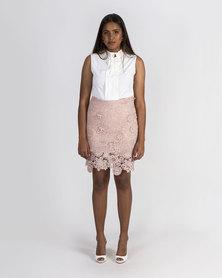 Mamoosh lace pencil skirt Pink