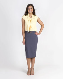 Mamoosh papillon collar shirt Pale yellow