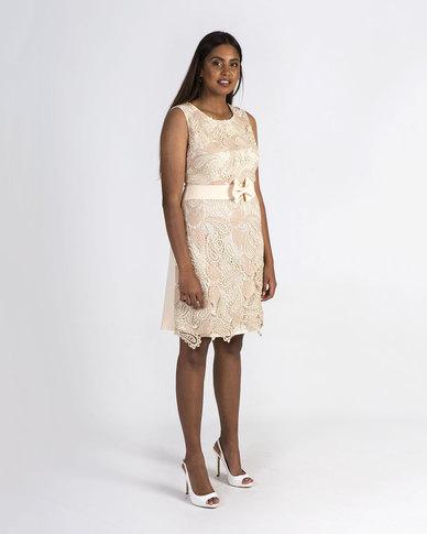 Mamoosh Lace sheath dress peach and cream