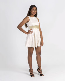 Mamoosh empire waisted lace A-line dress Cream