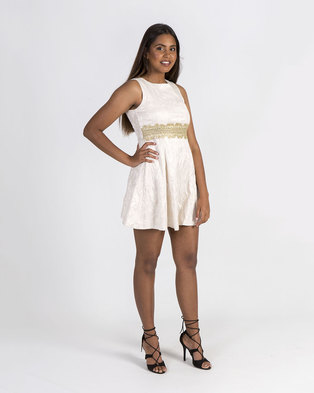 Mamoosh empire waisted lace A-line dress Cream