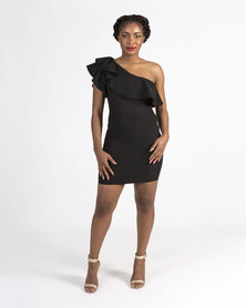 Mamoosh one shoulder frill dress Black