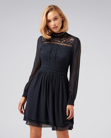 6b752c61c5 Forever New Laurina Lace Skater Dress Navy