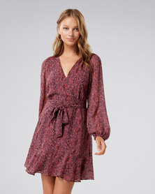 Forever New Sophia Wrap Mini Dress Berry Snake