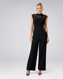 Forever New Louella Lace Bodice Jumpsuit Black