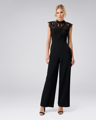 4594a07242 Forever New Louella Lace Bodice Jumpsuit Black