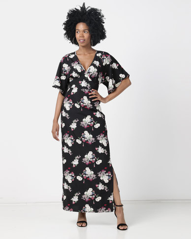 London Hub Fashion Floral Side Split Maxi Dress Black