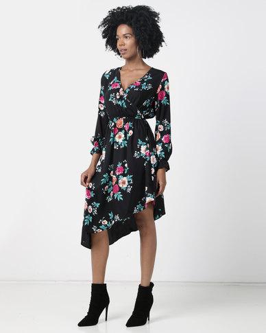 London Hub Fashion Floral Asymmetric Wrap Dress Black