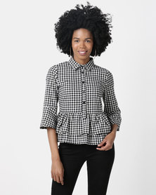 London Hub Fashion Gingham Check Double Layer Peplum Shirt Black