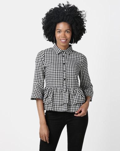 London Hub Fashion Gingham Check Double Layer Peplum Shirt Black