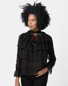 London Hub Fashion High Neck Layered Ruffle Blouse Black