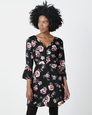 London Hub Fashion Floral Button Detail V Neck Tea Dress Black