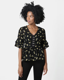 London Hub Fashion Floral V Neck Ruffle Sleeve Top Black