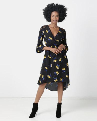 London Hub Fashion Floral Lace Detail Wrap Maxi Dress Black