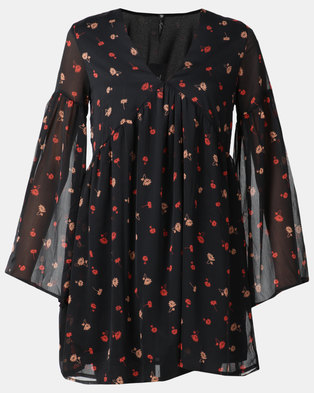 7e18b33edf London Hub Fashion Floral Wrap Maxi Dress Black