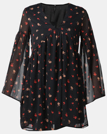 London Hub Fashion Floral Wrap Maxi Dress Black