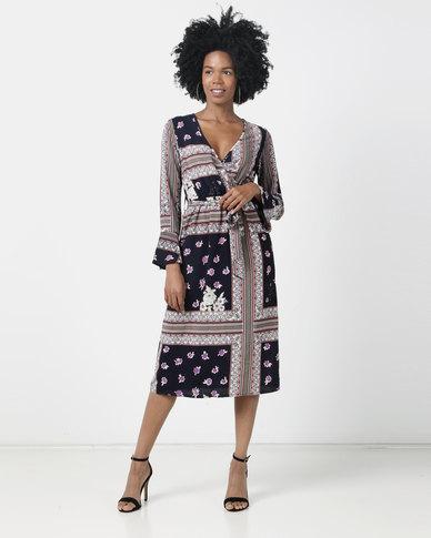 London Hub Fashion Mosaic Print Maxi Wrap Dress Multi