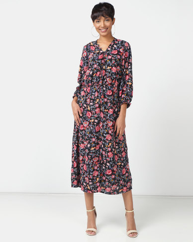 London Hub Fashion Floral Button Up Midi Dress Black