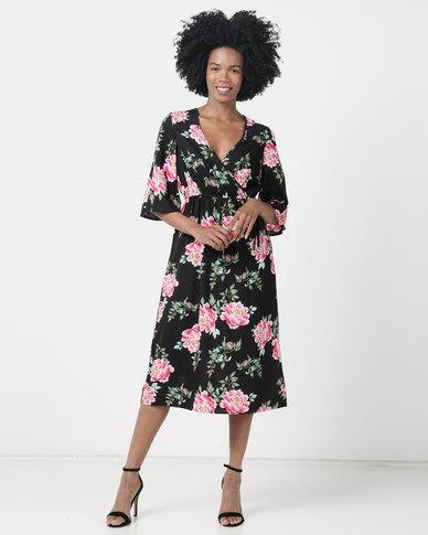 London Hub Fashion Multi Floral Print Floaty Dress Black