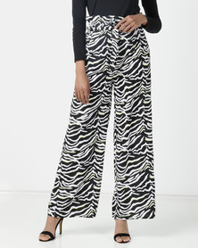London Hub Fashion Zebra Print Wide Leg Paperbag Trousers with Neon Pop