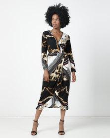 London Hub Fashion Chain And Animal Scarf Print Wrap Midi Dress With Long Sleeves Multi