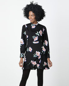 London Hub Fashion Floral High Neck Wrap Mini Dress Black