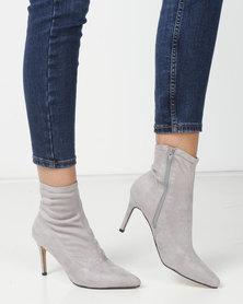 London Hub Fashion Stretch Ankle Boots Grey