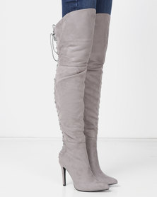 London Hub Fashion Pointy Over the Knee Boots Grey