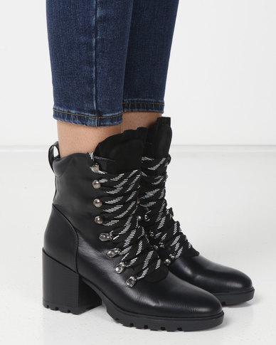 151eb7b7a7 London Hub Fashion Chunky Lace Up Hiker Boots Black Black | Zando