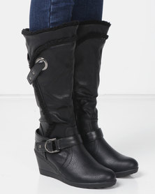 London Hub Fashion Belted Wedge Boots Black