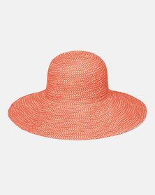 Emthunzini UPF50+ Scrunchie Orange and White Dot Sunhat 58cm