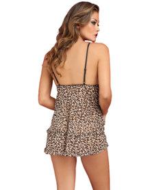 Talullah Suede Cheeky Cheetah Babydoll, Chiffon Leopard Print